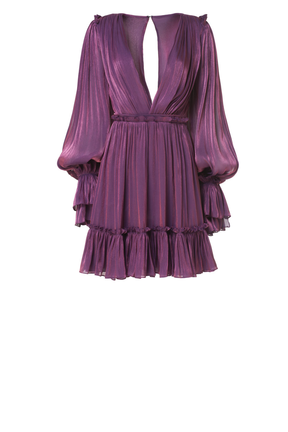 Lavina PS2151 Purple Iridescent Lurex Georgette Ruffle Mini Dresswith Flounce Hem & Poet Sleeves