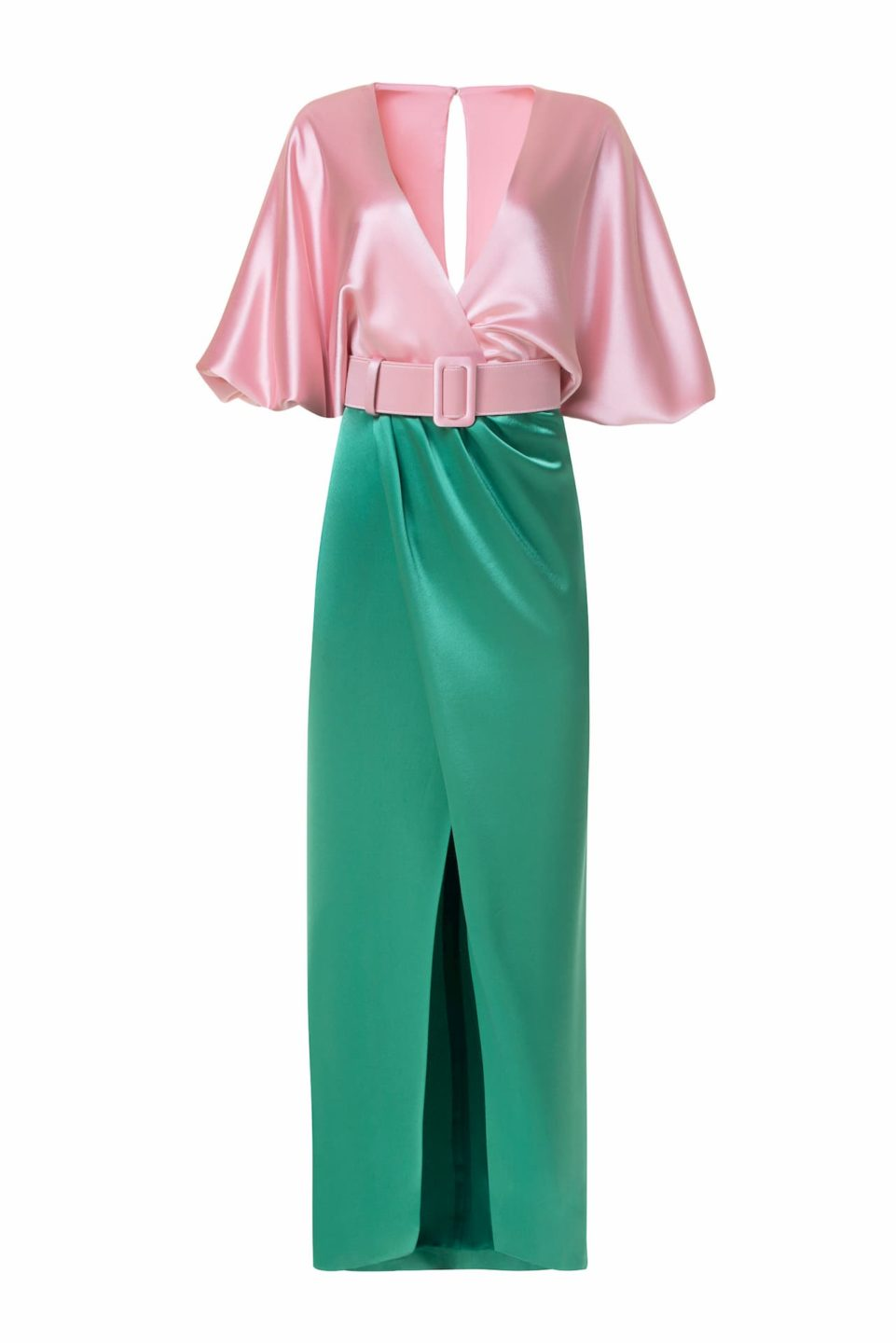 Lulie PS2139 Satin Colorblock Wrap-Front Dress with Surplice Bust