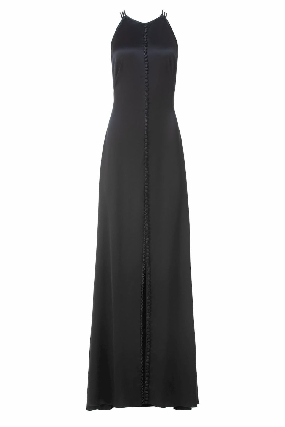 Gyllene PS2141 Black Satin Button-Detailed Slip Dress with HalterNeckline & Cross Backline