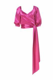 Hadley PS2131 Pink Satin Surplice Topwith Blouson Sleeves & Extended Waist Sash