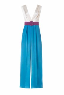 Keaton PS2138 Blue & white Satin Colorblock Wideleg Jumpsuit withPleated Bodice