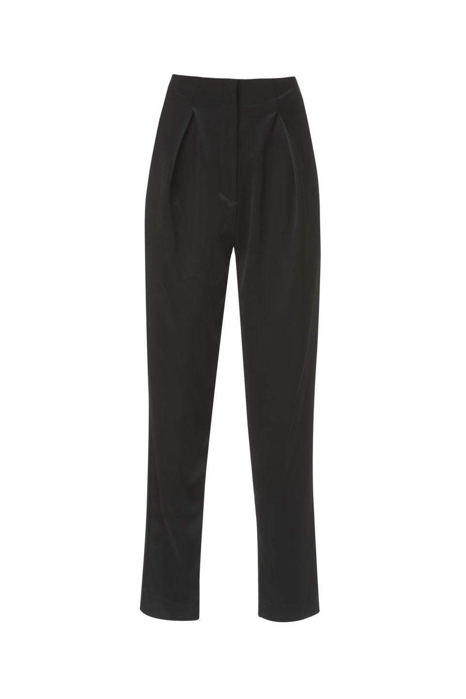 Hollis PS2135 Black Satin High-Waisted Tapered Pants with Pleated Detail