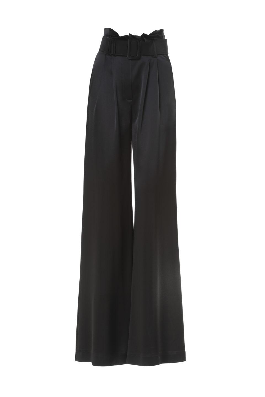 Carlene PS2136 Black Satin Gathered-Waist Palazzo Pants