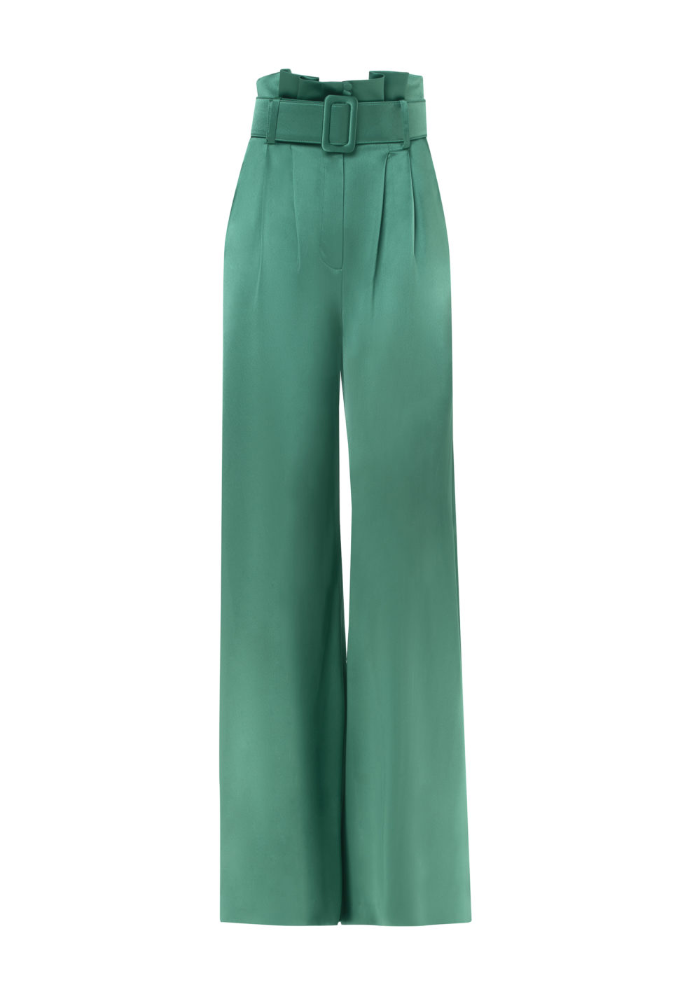 Carlene PS2136 Green Satin Gathered-Waist Palazzo Pants