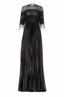 Marlow PS2182 Black French Lace Woven Fringe & Sequin Gown with Beaded Net Illusion Neckline & Plisse Skirt
