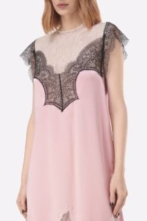 Amerlina PS2111 Pink Satin Midi Dress with Hollow-Out Chantilly Lace Appliques & Cap Sleeves