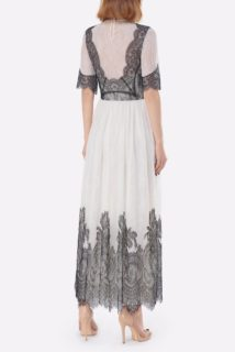 Kellica PS2116 White & Black Chantilly Lace Illusion-Neckline Fit & Flare Dress with Scalloped French Lace Appliques