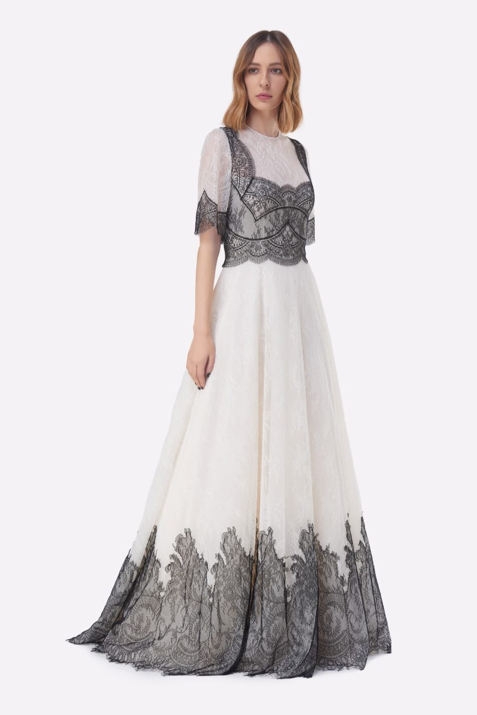 Avina PS2117 White & black Chantilly Lace Illusion-Neckline Fit & Flare Gown with Scalloped French Lace Appliques