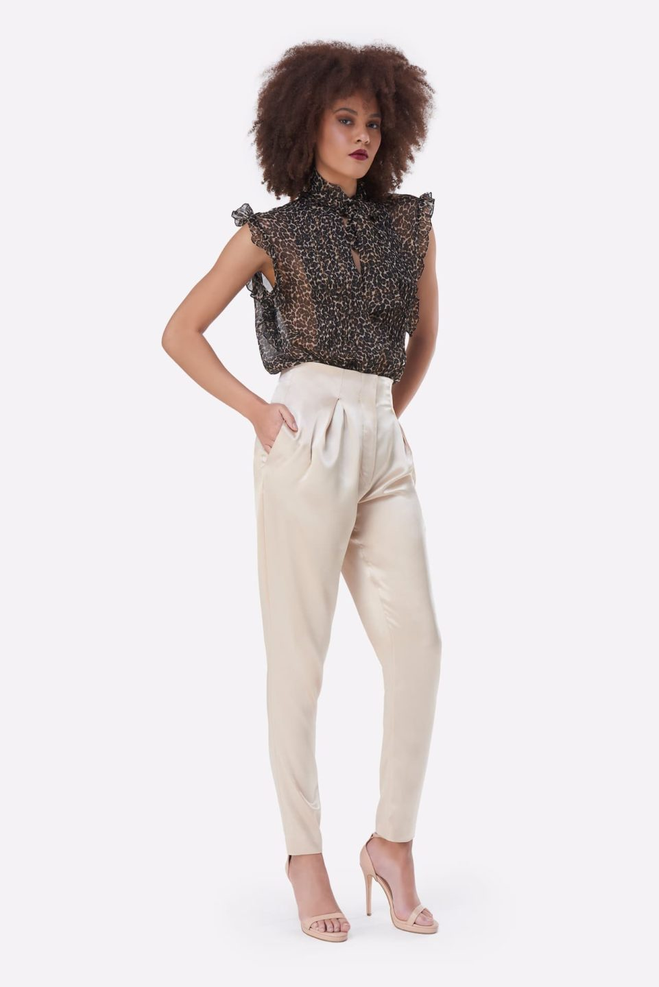 Hollis PS2135 White Satin High-Waisted Tapered Pants with Pleated Detail