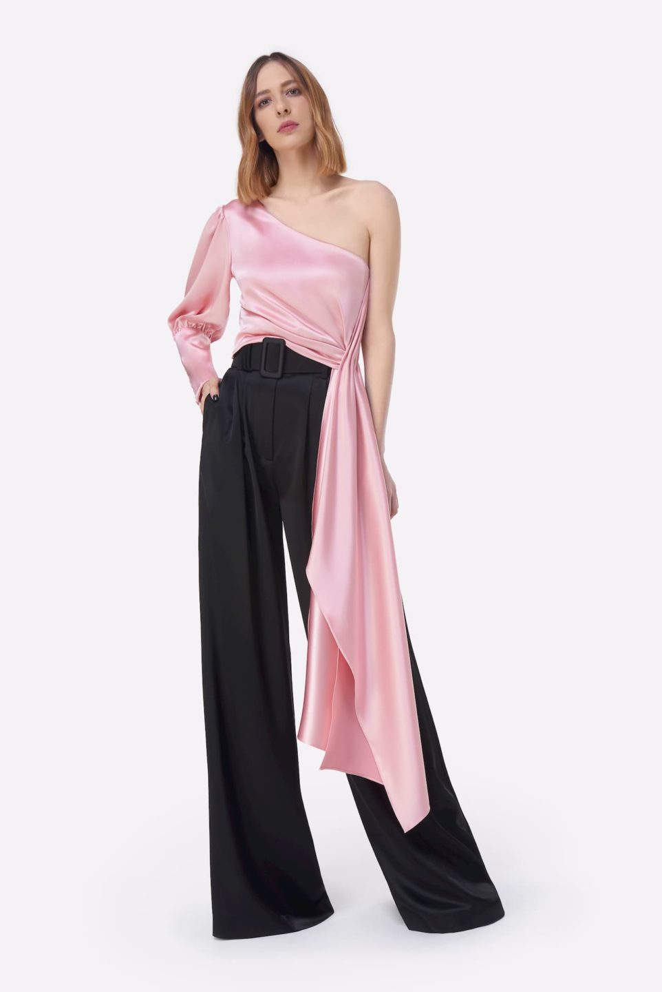 Athelina PS2130 Pink Satin One-Shoulder Top with Cuffed Sleeve & Extended Waist Sash