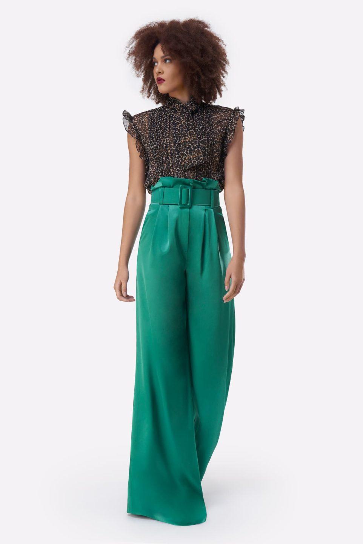 Carlene PS2136 Green Satin Gathered-Waist Palazzo Pants