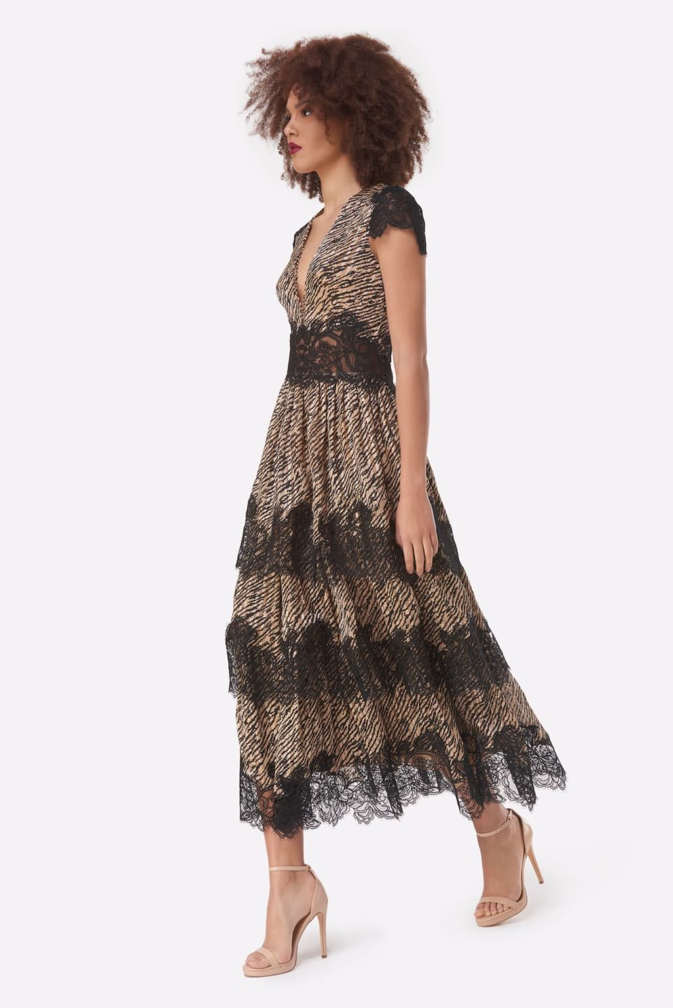 Daralisa PS2122 Beige and Black Tiger-Print Chiffon Tiered Dress with Gossamer Lace & Gold Threading
