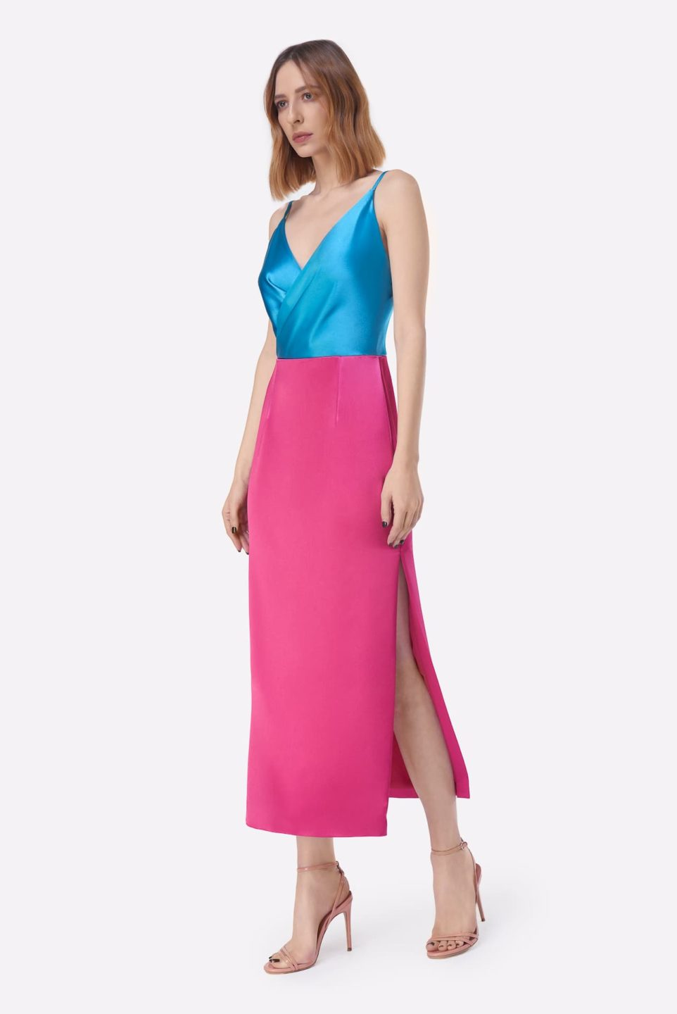 Maralina PS2137 Blue Pink Satin Colorblock Sheath Dress with Surplice Bust