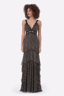 Farah PS2124 Beige and Black Leopard-PrintChiffon Trumpet Gown with Chantilly Lace Detail & Gold Threading