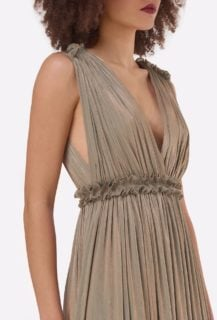 Lorelle PS2155 Green Gold Iridescent Lurex Georgette Grecian-Draped Gown with Plunging Neckline & Double-Edged Ruffles