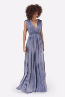 Lorelle PS2155 Blue Iridescent Lurex Georgette Grecian-Draped Gown with Plunging Neckline& Double-Edged Ruffles