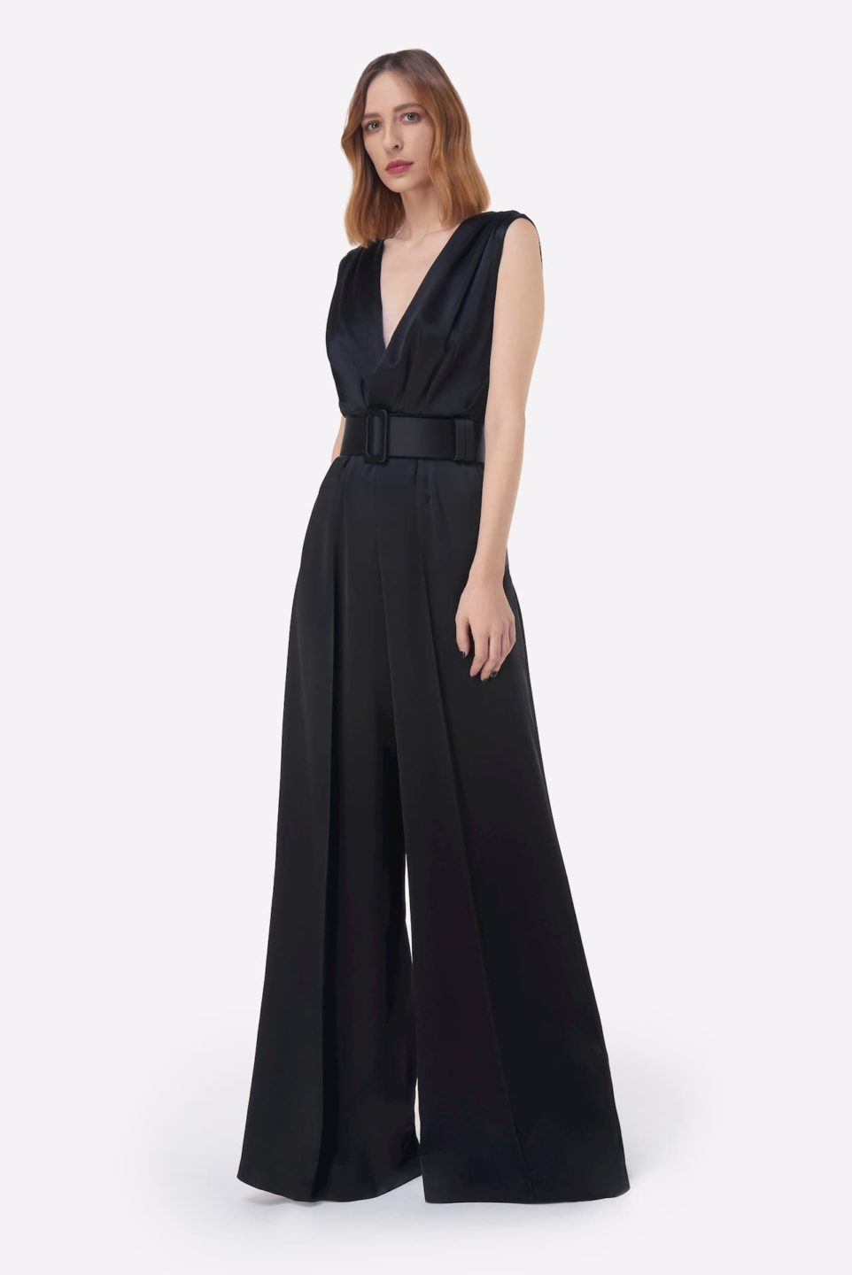 Keaton PS2138 Black Satin Colorblock Wideleg Jumpsuit with Pleated Bodice