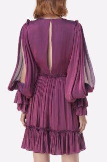Lavina PS2151 Purple Iridescent Lurex Georgette Ruffle Mini Dresswith Flounce Hem & Poet Sleeves