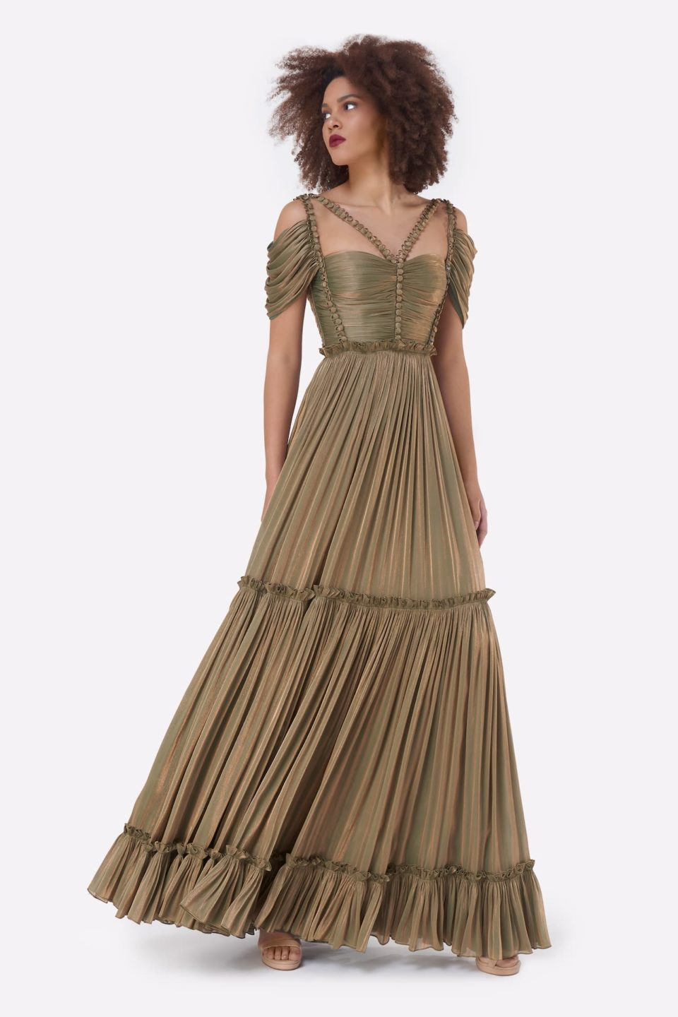 Gloriana PS2153 Green Gold Iridescent Lurex Georgette Button-Detailed Tiered Gown with Cut-outs & Draped Bodice