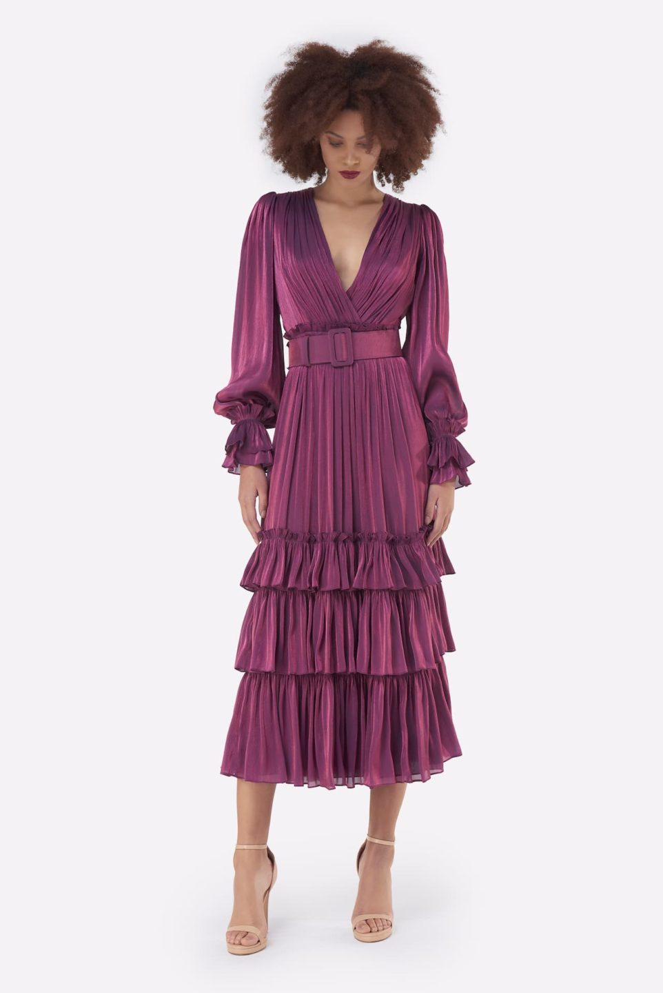 Oliva PS2152 Purple Iridescent Lurex Georgette Flounce Dress with Gathered Texture & Ruffle Detail