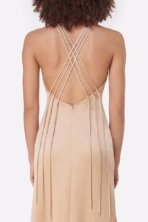 Gyllene PS2141 Gold Satin Button-Detailed Slip Dress with HalterNeckline & Cross Backline