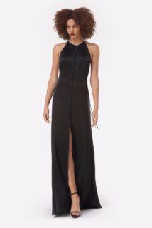 Gyllene PS2141 Black Satin Button-Detailed Slip Dress with HalterNeckline & Cross Backline