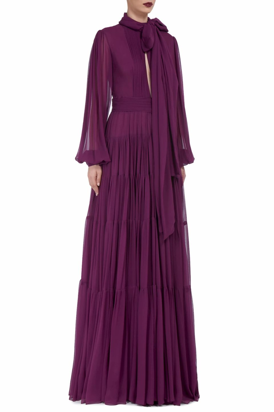 Isabelle FW2013 Purple Silk Chiffon Tiered Pussybow Gown with Keyhole Neckline & Pleated Details