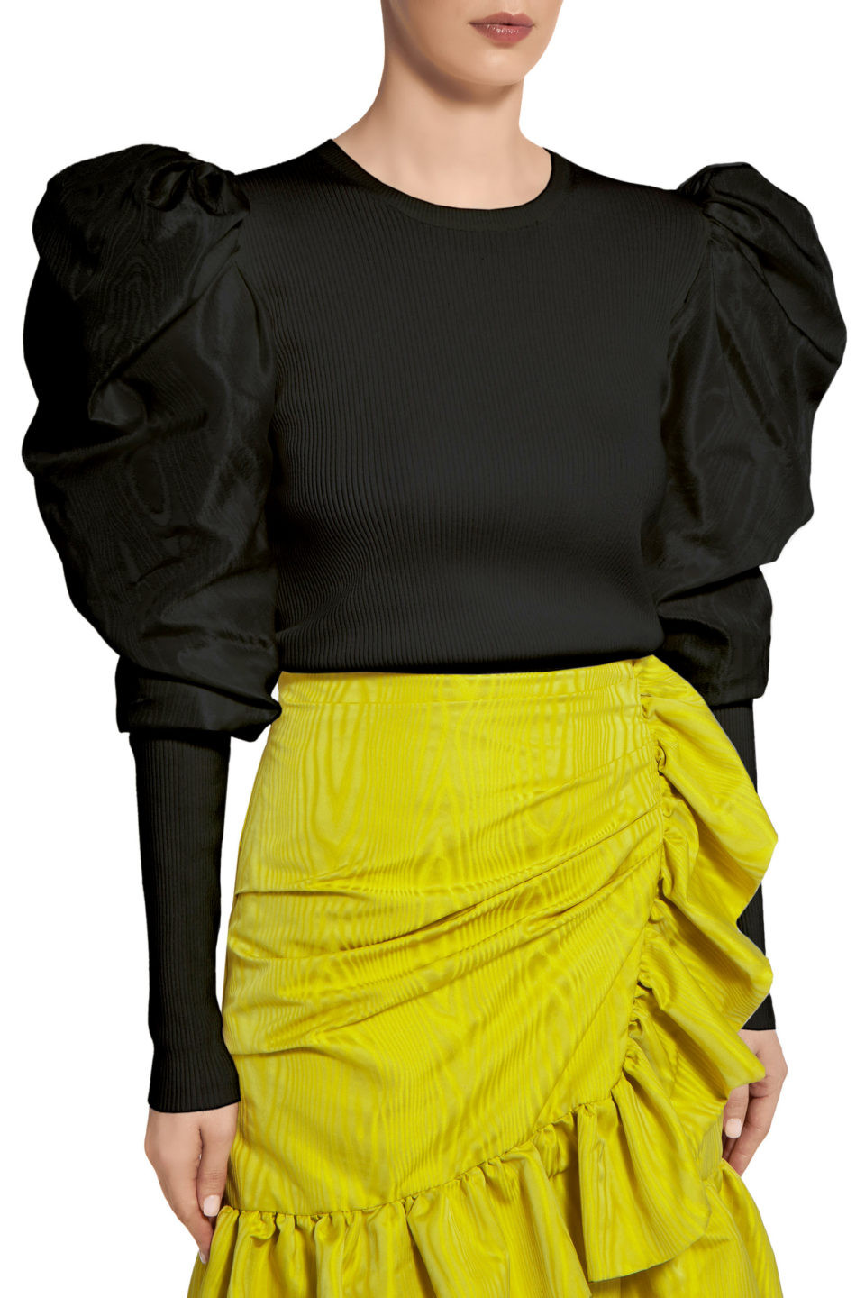 Maura PR2063 Black Ribbed-Knit Top with Taffeta Puff Sleeves