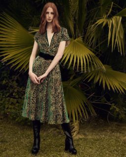 Sasha PR2121 Flocked Leopard Velvet Devore Dress with Flutter Sleeves