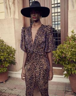 Laria PR2123 Flocked Leopard Velvet Devore Draped Dress with Knotted Waist Detail