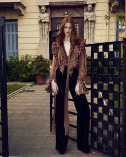 Marissa PR2132 Iridescent Lurex Georgette Blouse, Juleen PR2147 Cotton Velvet Trousers
