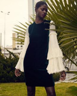 Denissa PR2144 Velvet Shift Dress with Crinkled Silk Chiffon Bell Sleeves