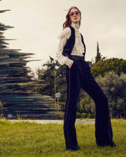 PR2162 Elsie Silk chiffon Blouse, PR2146 Mellie Cotton velvet vest, PR2147 Juleen Cotton Velvet Trousers