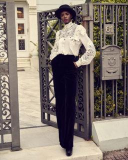 PR2149 Jessa Crepe de Chine Blouse, PR2147 Juleen Cotton Velvet Trousers