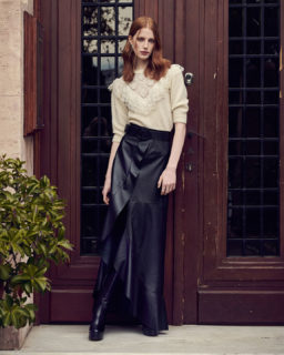 Julia PR2180 Mohair Sweater, Selissa PR2153 Black Leather Skirt