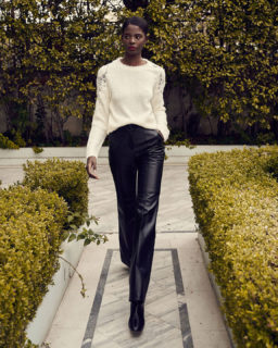 Mattie PR2181 Mohair Sweater, Denie PR2151 Black Leather Trousers