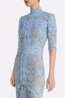 Kalissa SS2159 Blue Guipure Lace fitted handkerchief gown with high-neckline