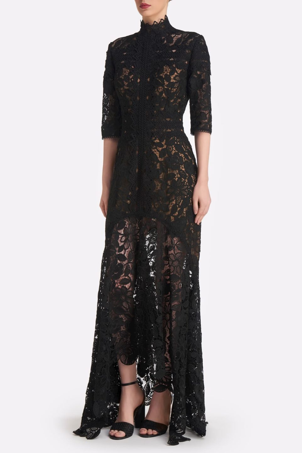 Kalissa SS2159 Black Guipure Lace fitted handkerchief gown with high-neckline