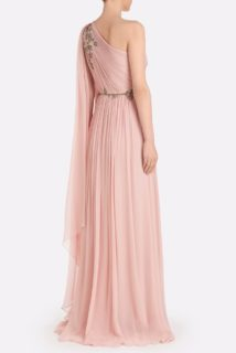 Zasthia SS2160 Pink Grecian draped Silk Chiffon One-Shoulder Gown with Beaded Embellishments