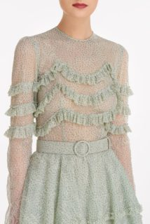 Miranne SS2132 Green Glitter Dot Chantilly lace dress with ruffle detail and coordinating belt