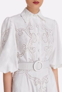 Pavlina SS2121 White Linen Cotton Blend Shirtdress with Greek Reticella Lace and belt