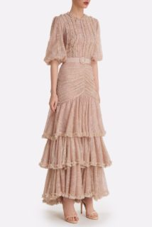 Jeanisse SS2130 Nude Glitter Dot Chantilly Lace Tiered Dress with Ruffle & Ruching detail
