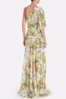 Kirsty SS2152 White Floral Chiffon One-Shoulder Gown with Ruched waist and Puff Sleeve