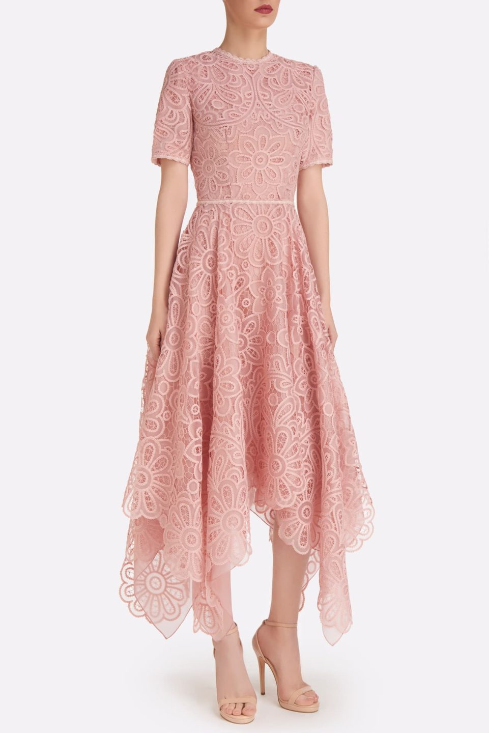 Raisie SS2115 Pink Embroidered Organza Handkerchief Dress with Short Sleeves