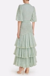 Jeanisse SS2130 Green Glitter Dot Chantilly Lace Tiered Dress with Ruffle & Ruching detail