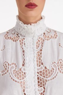 Milena SS2120 White Linen Cotton Blend Buttoned Blouse with Greek Reticella Lace and ruffled collar