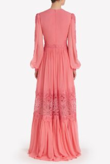 Myla SS2114 Coral Silk Chiffon Long-Sleeves Gown with Embroidered Organza Detail