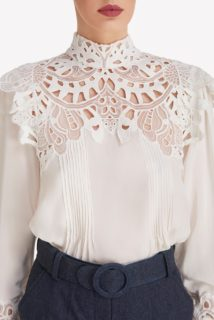 Rilella SS2082 White Crepe De Chine High-Neckline Blouse with Embroidered Lace