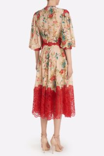 Claudie SS2150 Beige Floral Chiffon Midi Dress with Red Embroidered Orgnaza Details