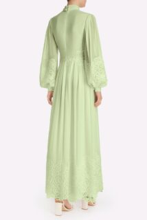 Tianna SS2111 Green Silk Chiffon Long-Sleeve Pussybow Gown with Embroidered Organza Detail